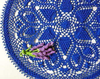 "Blue crochet doily Round 47 cm / 18.5"". Crocheted Doily."