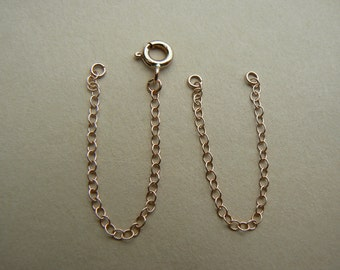 """Long 9ct Red Rose Gold extender or safety chain for necklace or bracelet 2.5"""" long plus clasp"""