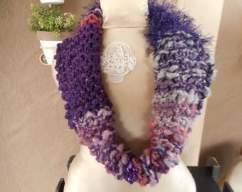 Hand Knit Art Yarn Cowl, Hand Knit Art Yarn Scarf, Hand Knit Cowl, Hand Knit Scarf