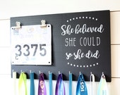 Running Medal Bib Holder She Believed She Could So She Did - Medal Holder, Medal Rack, Medal Display, Race Bib Display, Race Bib Holder
