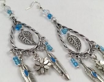 DREAMCATCHER EARRINGS [ chandelier earrings . earrings . silver earrings . long earrings . chain earrings . hoop earrings ]