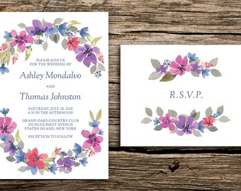 Watercolor Wreath Wedding Invitation and RSVP // Watercolor Flowers Modern Vintage Wedding Navy Blue Pink Romantic Unique Love Details Cards