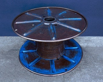 Vintage Steel Cable Spool Navy Blue, circa 1960s