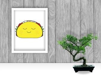 Happy Taco Digital Art Print