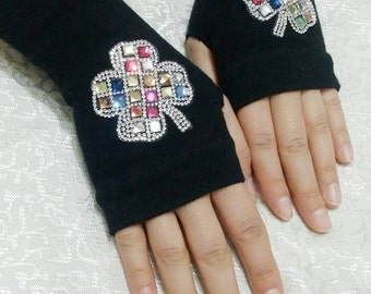 Clover Patterned Fingerless gloves,  embroidered gloves, black gloves, valentines day gifts, accessories, handmade gloves, winter gloves