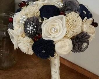 Wedding Bouquet, Sola wood Bouquet, Navy grey Bouquet, Blue Wedding Bouquet, Alternative brooch Bouquet, Bouquet, Sola flowers, Wood Bouquet