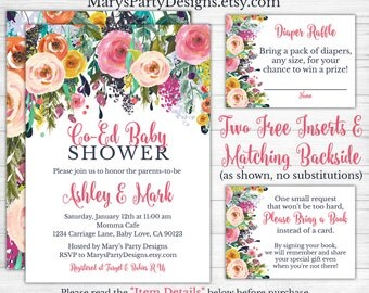 Attractive Coed Baby Shower Invitation   Watercolor Flowers Floral Pink Navy Purple  Free Diaper Raffle Ticket Book