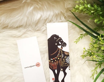 """Bookmark """"Decorated Horse"""" Illustrated by Saju"""