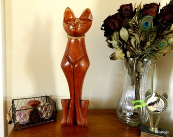 Retro hand carved teak wood cat, Retro cat figure