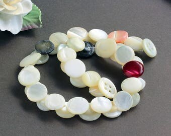 Vintage Mother of Pearl Simple Creamy White Red Black Button Lot on a strand (40)
