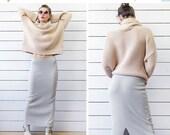 SPRING SALE Vintage melange grey merino wool knit fitted high low waist floor length maxi skirt S