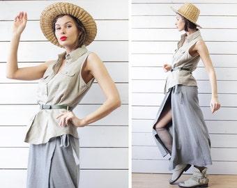 Vintage beige grey linen cotton sleeveless long button up shirt blouse L