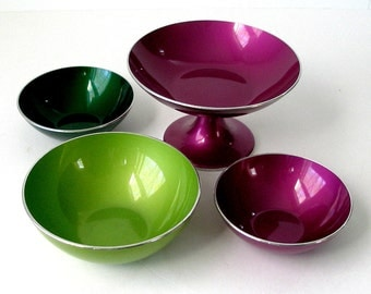 1960s Vintage 4 Pcs EMALOX Norway 1 Footed Dish 2 Candy Nut Bowl 1 5in Bowl Purple Emerald Chartreuse Green Retro Danish Modern Enamel Metal