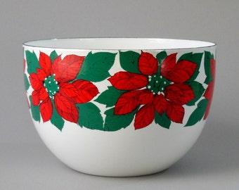 Finel Poinsettia Bowl 60s Arabia Porcelain Enamel Kaj Franc Metal Red Green White 8x6 Finland Scandinavia Kitchen Holiday Danish Mod Ex Cond