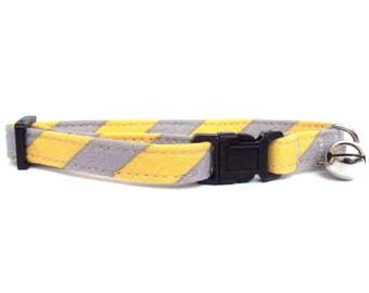 Cat Collar, Small Dog Collar, Yellow Gray Stripes