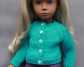 Handknitted Turquoise Cardigan for Vintage Sasha dolls
