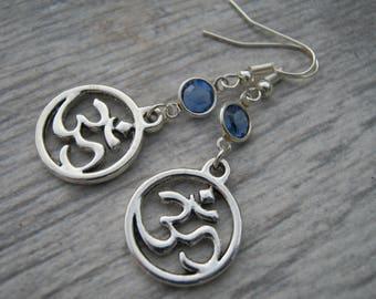 Sanskrit Om Birthstone Earrings, Personalized Aum Earrings, Buddhist Earrings, Namaste Jewelry, Yoga Gift, Hindu Earrings, Om Symbol Jewelry