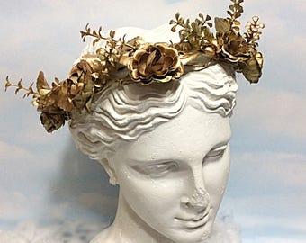 Gold rose flower crown, gold crown, golden flower crown, gold flower headpiece, gold fairy headpiece,  gold roses flower headband bride