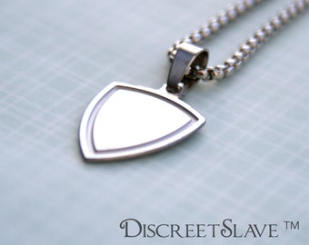 Stainless steel Master's top arch shield. Non gender specific. Non-binary. Pendant for owners, Dominant or Masters in a BDSM relationship