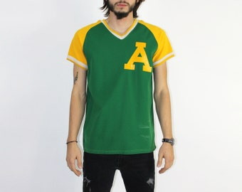 A's Jersey - V-Neckline Sporty Raglan Oakland Athletics Top Shirt Sportswear Number 7 Green Yellow Oakland A's Baseball Soft 80s tee 1980s