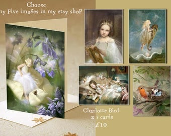 Set of x 5 A5 Greetings cards - Pick and mix . Any five images in this shop ( most images available)