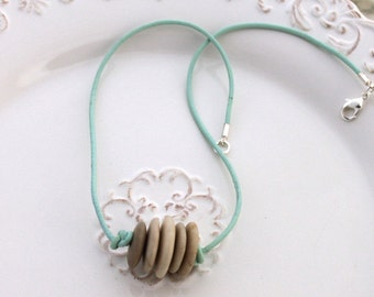 Mint Green Leather NECKLACE with Mediterranean Sea STONES - Tan Beige Creme CAIRN - Made in Usa, Ready to Ship - 19 inches