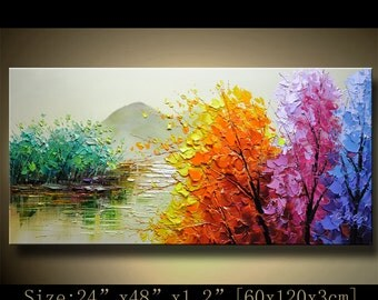 contemporary wall art, Palette Knife Painting,colorful tree painting,wall decor  Home Decor,Acrylic Textured Painting ON Canvas by Chen 1213
