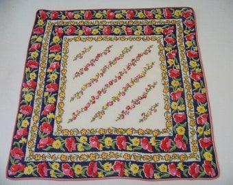 Vintage Linen Floral Hanky Mostly Red & Blue