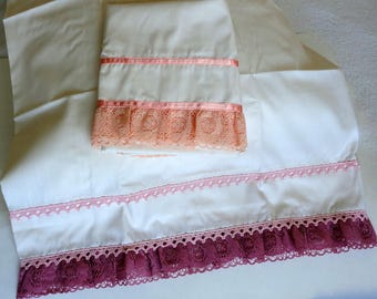 Vintage Unlikely Pair Pillow Cases Handmade Raspberry Orange Ribbon Lace Hem Standard Size Pillowcase Pillow Slip Case His & His Hers + Hers