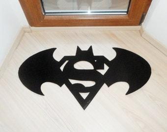 Floor Mat Based In A Batman And Superman Logo. Geek Rug. Custom Door Mat
