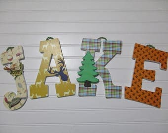 "JAKE - 12.00 PER LETTER boy's name, 9"" wooden nursery letters, deer, hunting, fishing, camping, outdoor theme, duck hunting"