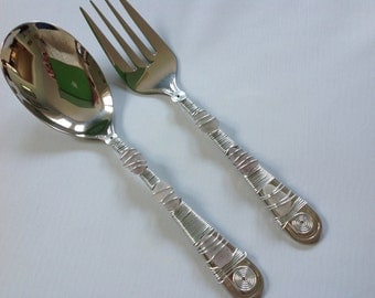 Stainless Steel Serving Utensils Salad Servers Lavender/Amethyst beach/sea glass wire wrapped hostess gift
