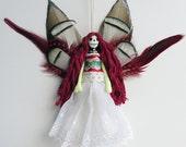 Dead Fairy decoration, Day of the Dead Fairy, handmade peg doll, OOAK