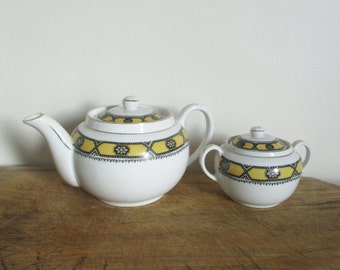 Vintage Teapot-Sugar bowl, Theière-sucrier, Czech porcelain VICTORIA, Mid century, 1950