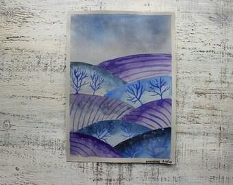 Winter snowy landscape original watercolor painting 7x10 lilac white blue