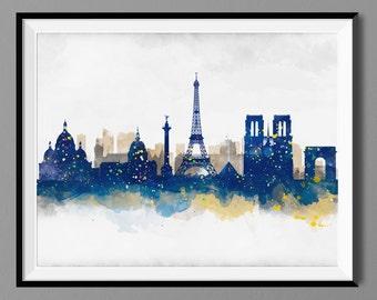 Paris Skyline Watercolor Blue color Navy, Paris France Cityscape Wall Art Print
