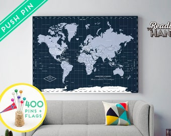 Personalized Push Pin World Map Canvas Navy - Ready to Hang -  240 Pins + 198 World Flag Sticker Pack Included - Gift for travel