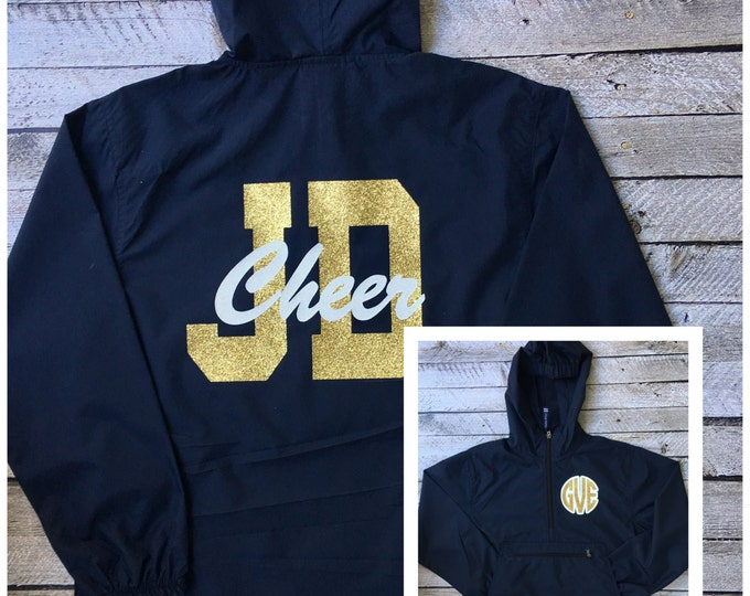 Custom Cheerleader Jackets, Cheer Squad Jacket, Rain Jacket, Pullover Rain Jacket for Cheerleaders, Cheer Team Rain Jacket