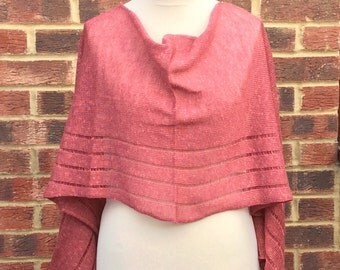 Pure Linen  Evening Elegant Shawl . Rose Linen Bridal Stole . Bridesmaids  Shawl. Prom Dress Wrap. Mother if the Groom Gift .Wedding