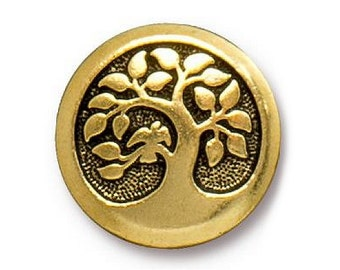 2 TierraCast Bird in a Tree 5/8 inch ( 16 mm ) Gold Plated Pewter Buttons