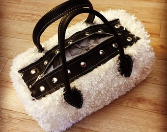 Black and white furry purse with matching scarf, docto's purse, furry purse