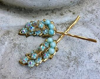 Decorative Hair Pins Bridal Blue Jewelry 1940's Flowers Rhinestone Gold Leaf Leaves  Filigree Hairpins Bobby Pins