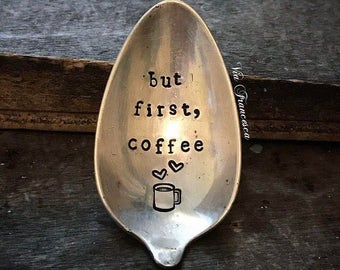 "Spoon Magnet - Hand Stamped Vintage Spoon Magnet - ""but first, coffee"" - Custom - Personalized - Repurposed- Upcycled - Made in the USA"