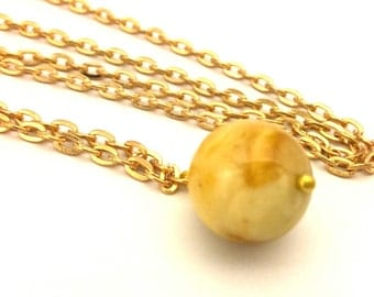 Amber Baltic Necklace Genuine 7.34 Gr Egg Yolk Color Ideal Round