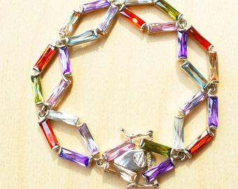Glass bracelet, sterling silver bracelet, multi color bracelet, Bracelet: Rainbow Glass & Crystal, Rainbow color bracelet, silver bracelet