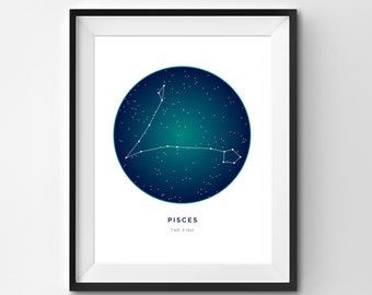 Pisces Printable | Pisces Art Print | Constellation Printable | Constellation Art | Constellation | Zodiac Art | Printable Art