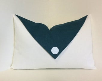 Decorative flap lumbar pillow cover, turquoise white button envelope flap accent. Teal turquoise white decorative pillow. home decor