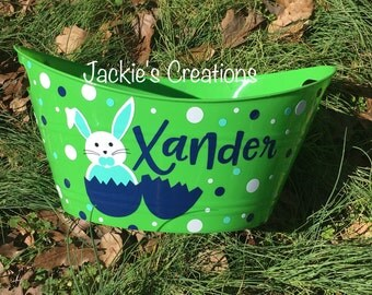 Personalized Easter Bucket/Basket with Bunny Inside Egg