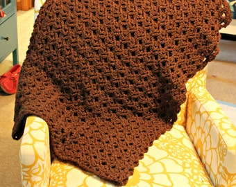 Crochet Chunky Wool Blanket - The Cozy Lace Throw Blanket - Wool Blend - Chocolate Brown