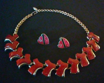 Lucky 7 VLV Sparkle Vintage 1950's Matching Necklace and Earrings!  **FREE SHIPPING**